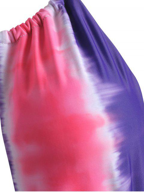unique High Cut Backless Tie Dye Swimsuit - HOT PINK M Mobile