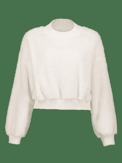 ZAFUL Sweat-shirt Court Teddy Fourré à Col Montant - Blanc L Mobile