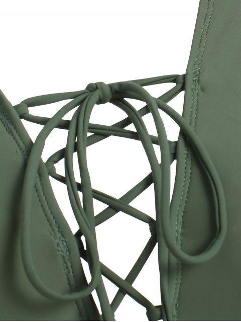 best Front Lace Up High Cut Plunge Swimsuit - DARK SEA GREEN S Mobile