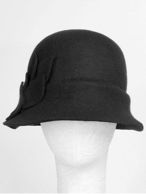 lady Elegant Petal Solid Color Bucket Hat - BLACK  Mobile