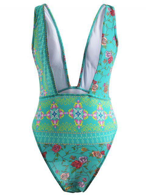 women Printed Plunge Swimsuit - BLUE GREEN L Mobile