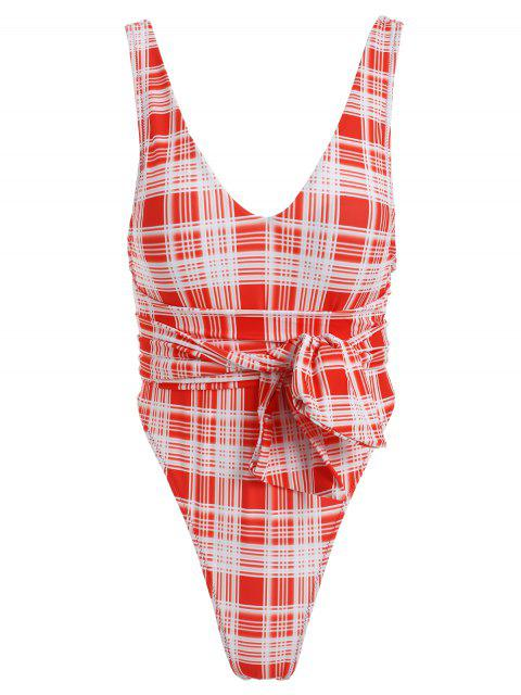 ZAFUL Tartan Knotted Backless traje de baño de una pieza - Rojo L Mobile