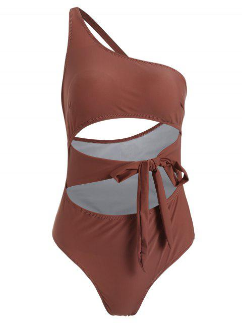 sale ZAFUL Knot Cutout One Shoulder Swimsuit - ROSY FINCH S Mobile