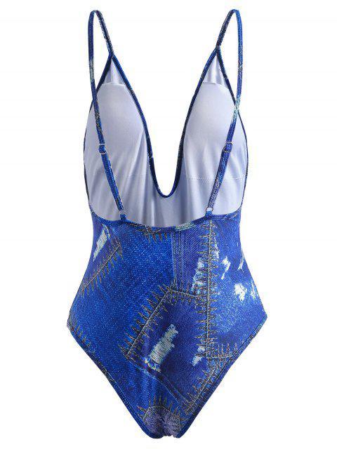 Traje de baño estampado de mezclilla - Azul Cobalto M Mobile
