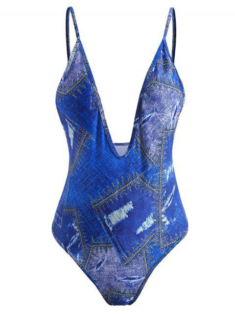 Traje de baño estampado de mezclilla - Azul Cobalto L Mobile