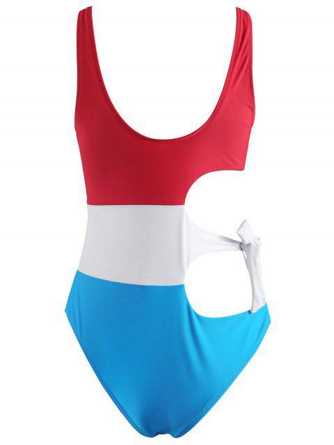 hot Color Block Tie Cut Out Swimsuit - MULTI S Mobile