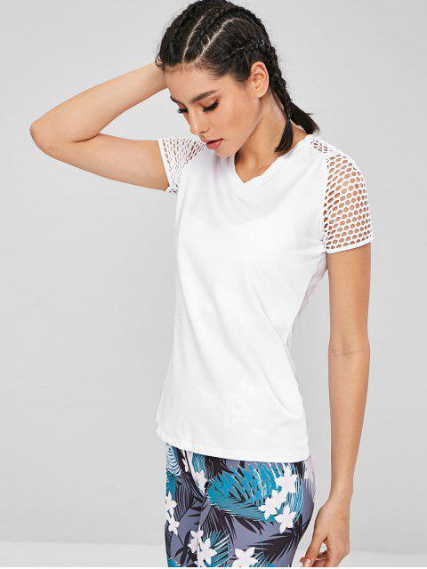 T-shirt de Sport de Gym à Manches Raglan - Blanc M Mobile
