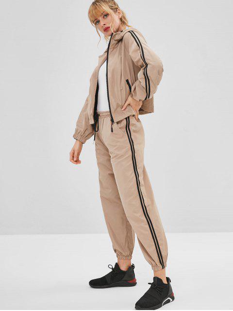 Conjunto de chaqueta deportiva y pantalones deportivos con capucha - Caqui L Mobile