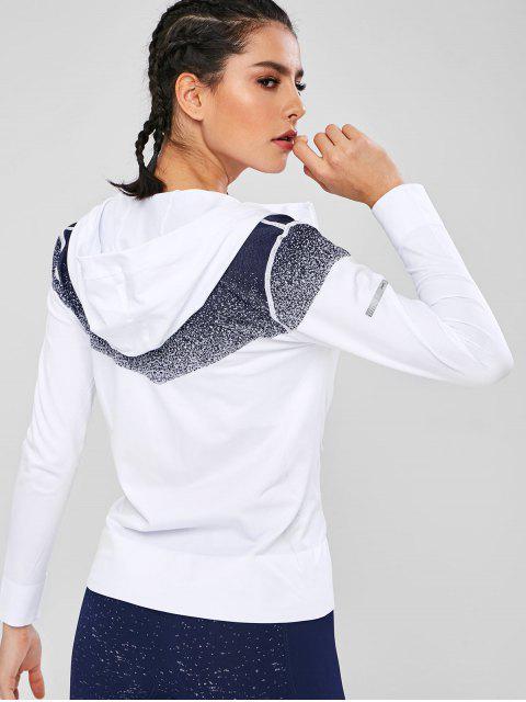 Farbige Joch-nahtlose Sportjacke - Weiß L Mobile