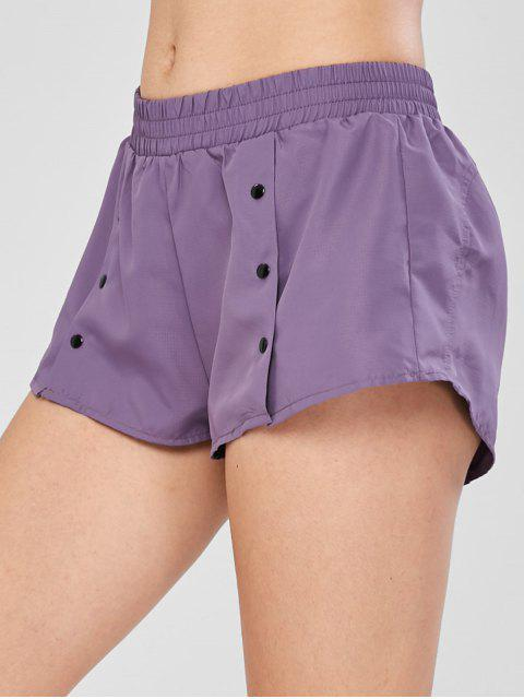 lady Buttoned Sports Running Shorts - MEDIUM PURPLE L Mobile