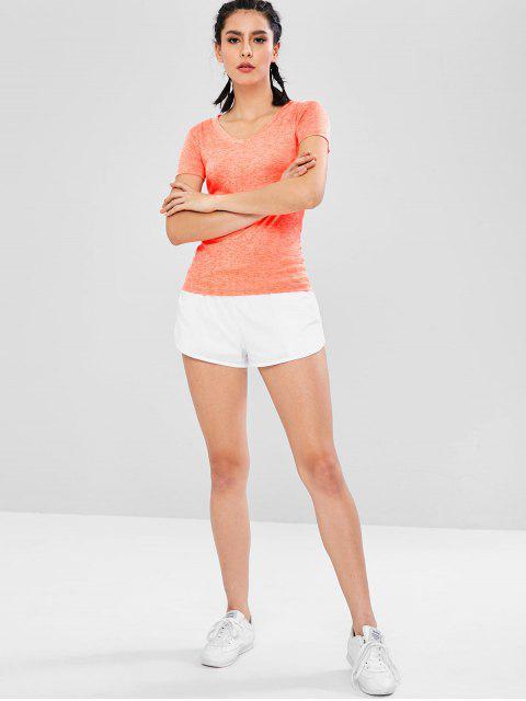Space Dye - T-Shirt mit V-Ausschnitt - Orange M Mobile