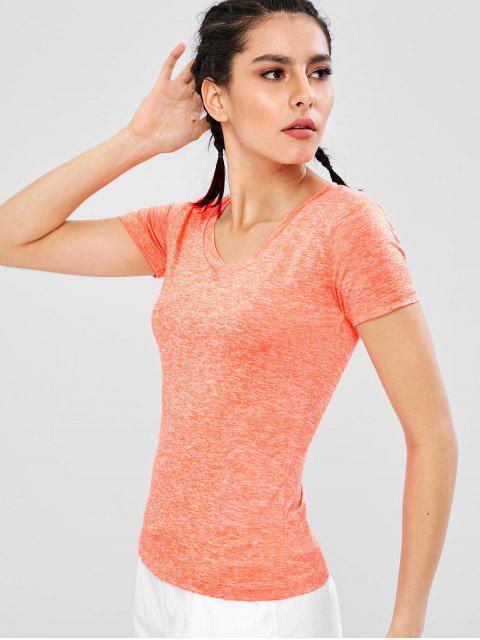 Camiseta de gimnasio Space Dye con cuello en V - Naranja M Mobile