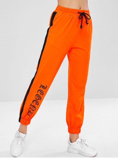 womens Drawstring Graphic Joggers Sweatpants - ORANGE L Mobile