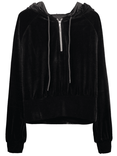 ZAFUL - Raglanärmel-Hoodie mit halbem Reißverschluss - Schwarz S Mobile