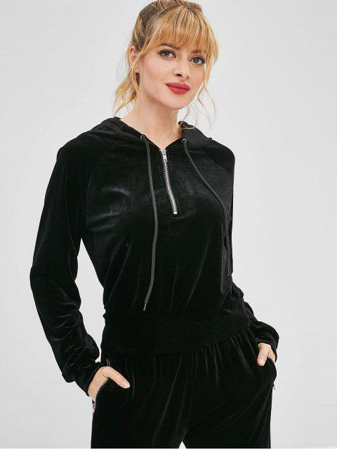 trendy ZAFUL Velvet Half Zipper Raglan Sleeve Hoodie - BLACK S Mobile