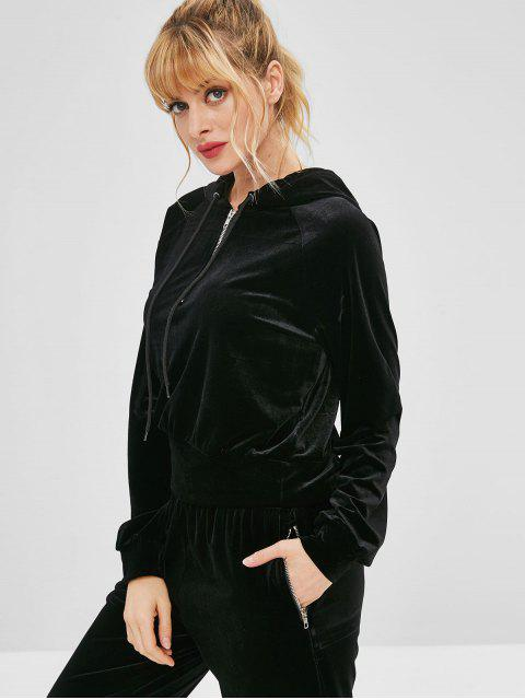 fashion ZAFUL Velvet Half Zipper Raglan Sleeve Hoodie - BLACK M Mobile