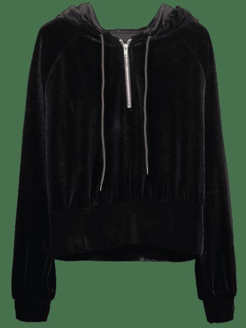 ZAFUL - Raglanärmel-Hoodie mit halbem Reißverschluss - Schwarz L Mobile