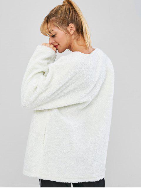 ZAFUL Fluffy Drop Shoulder Longline Teddy Coat - Blanco S Mobile