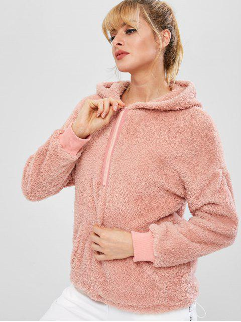 ZAFUL Sweat à Capuche Fourré à Demi-Zip avec Poche - Rose  M Mobile