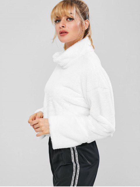 Flauschiges Drop Shoulder Crop-Teddy-Sweatshirt - Weiß L Mobile