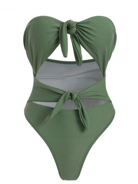 outfits Knots High Cut Swimsuit - DARK SEA GREEN M Mobile