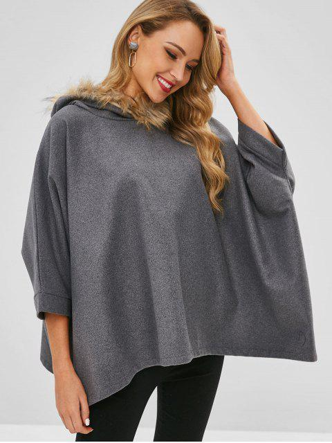 outfit Fur Collar Cape Wool Blend Hoodie - BATTLESHIP GRAY M Mobile