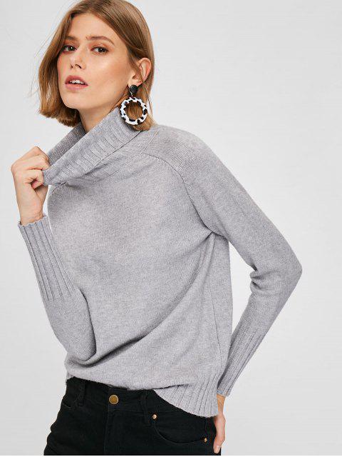 buy Turtleneck Raglan Sleeve Sweater - BATTLESHIP GRAY ONE SIZE Mobile
