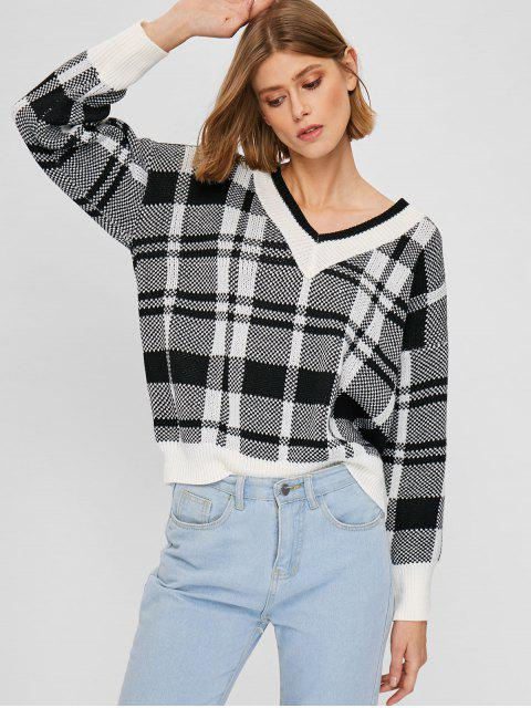 sale V Neck Plaid Jacquard Sweater - MULTI ONE SIZE Mobile