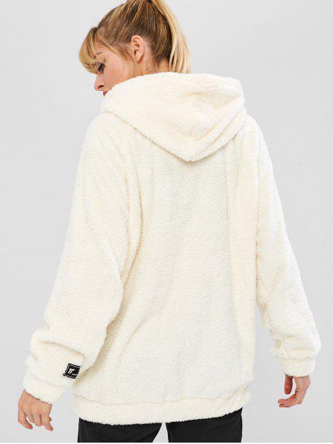 Flauschiger Raglan-Ärmel-Teddy-Hoodie - Weiß L Mobile