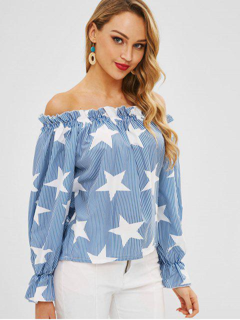 outfit Star Stripe Print Off The Shoulder Top - LIGHT BLUE M Mobile