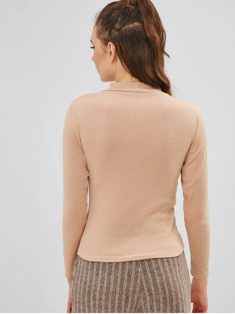 women Plain Long Sleeves Keyhole Tee - FALL LEAF BROWN M Mobile