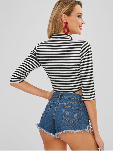 online Striped Mock Neck Cutout Snap Button Bodysuit - MULTI L Mobile