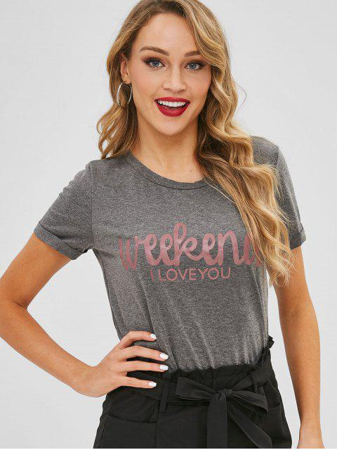 best Slogan Roll Sleeve Tee - GRAY S Mobile
