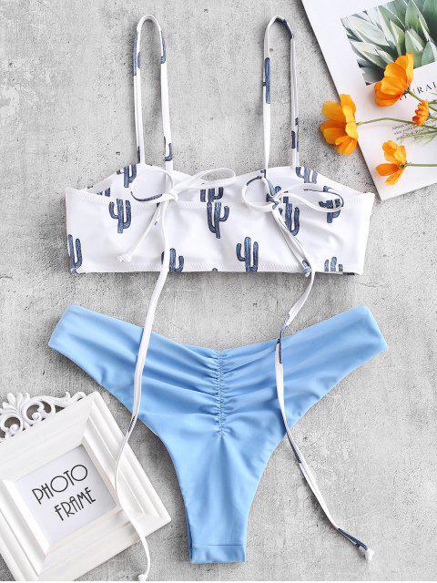affordable Cactus Tie Shoulder Reversible Bikini Set - BLUE KOI L Mobile