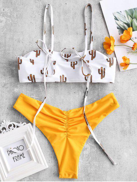 Bikini Reversible de Hombro con Lazo de Cactus - Azafrán M Mobile