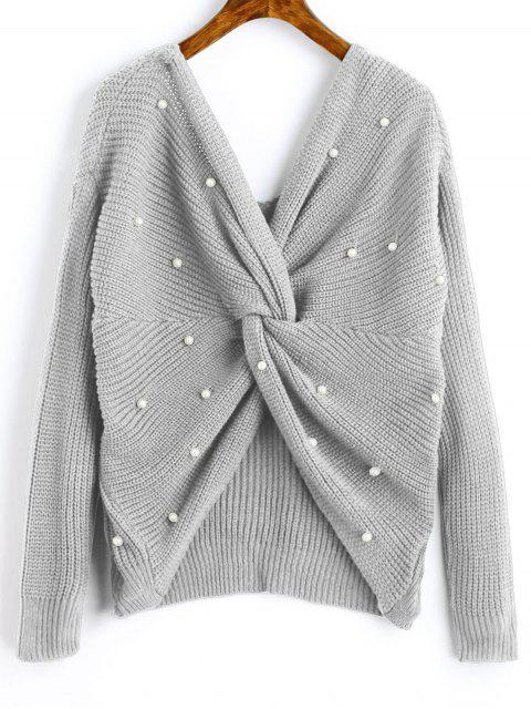 lady V Neck Twist Pearly Sweater - GRAY CLOUD ONE SIZE Mobile