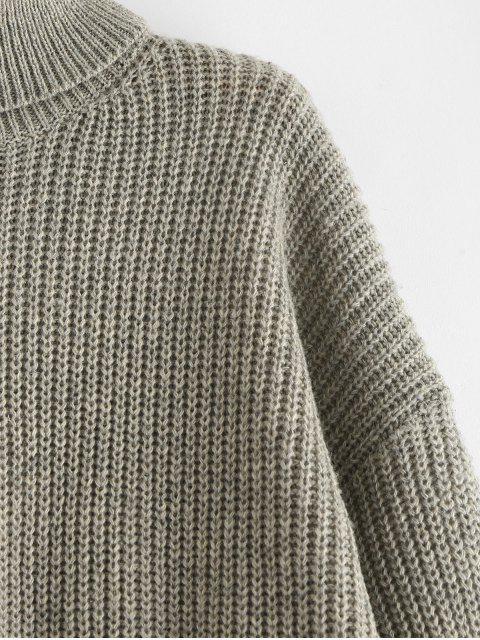 women's ZAFUL Turtleneck Drop Shoulder Plain Sweater - GRAY ONE SIZE Mobile