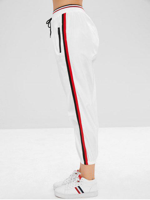 trendy Zippered Striped Jogger Pants - WHITE XL Mobile