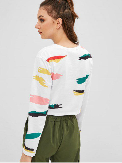 sale Cropped Printed Twist Tee - WHITE S Mobile