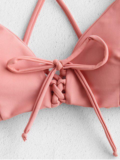 outfits Cross Strap Lace-up Bikini - ROSE L Mobile