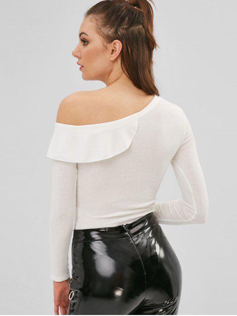 ladies Ruffled Asymmetrical One Shoulder Snap Crotch Bodysuit - WHITE M Mobile