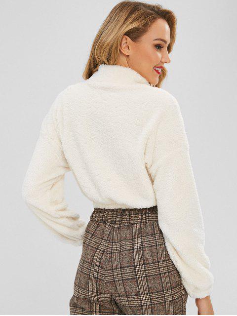 fashion Zipped Cropped Fleece Pullover Sweatshirt - MILK WHITE S Mobile