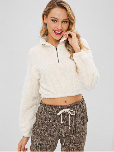 lady Zipped Cropped Fleece Pullover Sweatshirt - MILK WHITE M Mobile