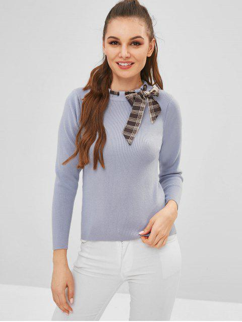 shop ZAFUL Slim Sweater With Threaded Scarf - BLUE GRAY ONE SIZE Mobile