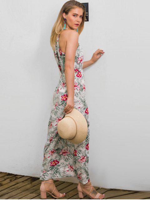 unique Floral Leaf Print Tie Maxi Dress - WHITE S Mobile
