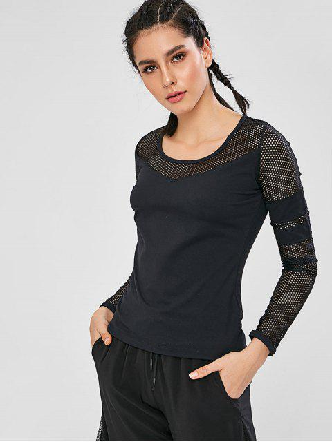 Langärmeliges Gymnastik-T-Shirt aushöhlen - Schwarz M Mobile