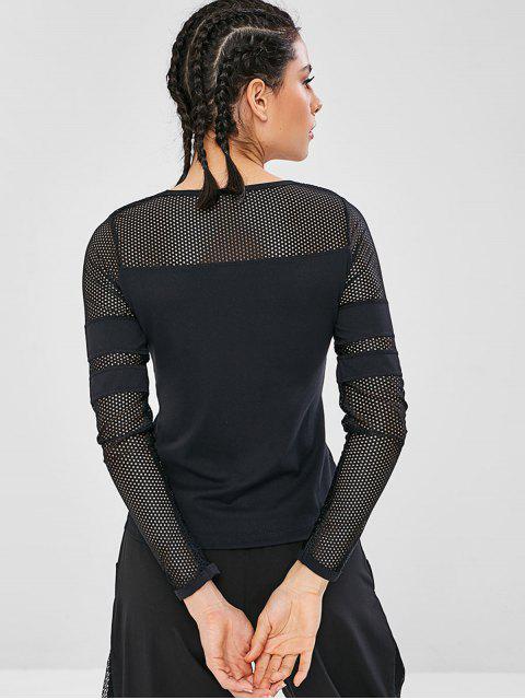 Langärmeliges Gymnastik-T-Shirt aushöhlen - Schwarz L Mobile