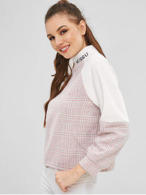 best Plaid Letter Embroidered Sweatshirt - MULTI-A ONE SIZE Mobile