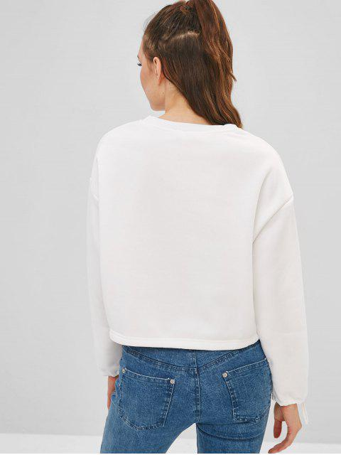 Sweat-shirt doublé en molleton imprimé - Blanc XL Mobile