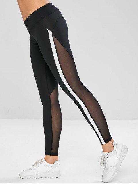 ladies Color Block Mesh Panel Leggings - BLACK L Mobile